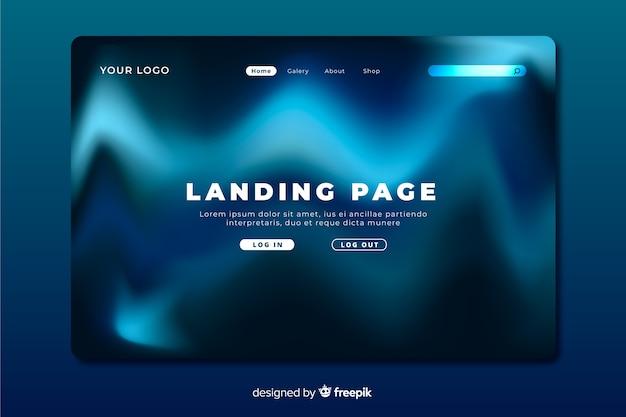 Pagina di atterraggio delle onde blu dell'aurora boreale Vettore gratuito