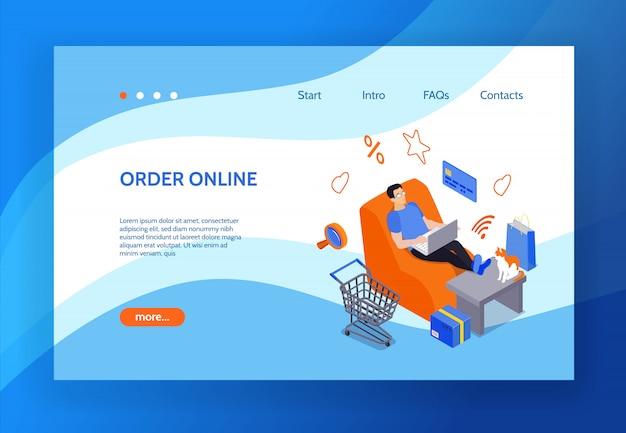 Pagina di atterraggio dello shopping online con l'immagine dell'uomo seduto nella sedia di casa e utilizzando il computer portatile per l'acquisto su internet isometrico Vettore gratuito