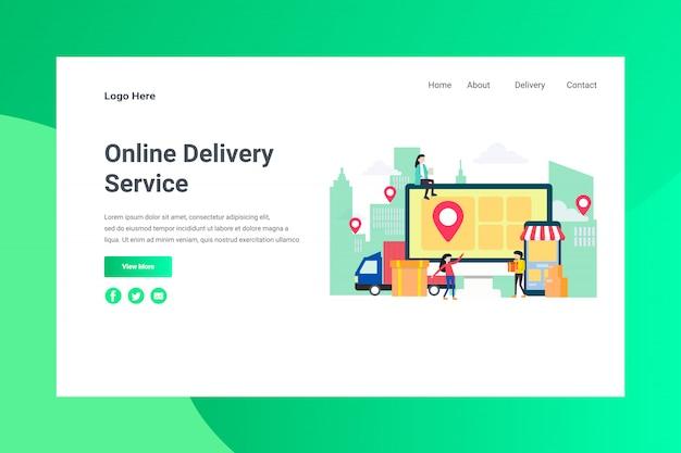 Pagina di atterraggio di concetto dell'illustrazione di servizio online di consegna dell'intestazione della pagina web Vettore Premium