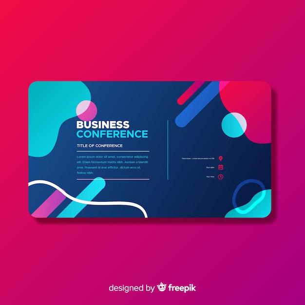 Pagina di atterraggio di conferenze aziendali di forme astratte piatte Vettore gratuito
