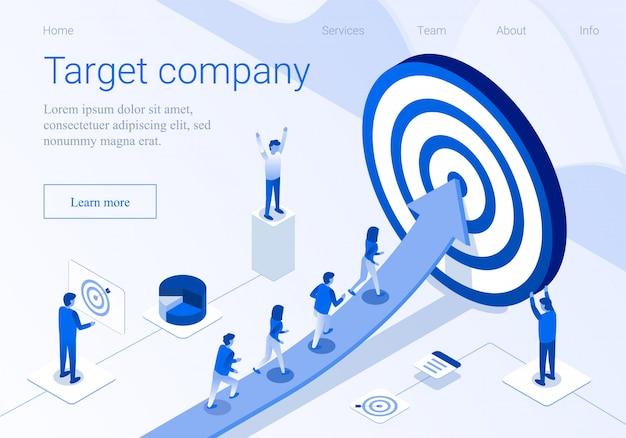 Pagina di atterraggio di promozione 3d di affari della società di obiettivo Vettore Premium