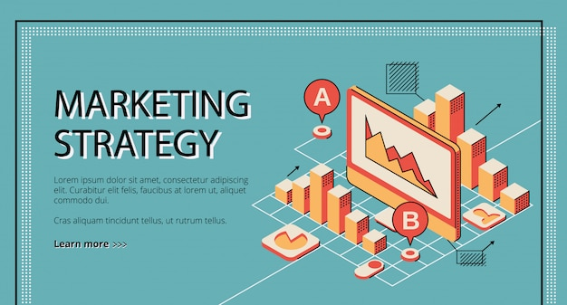 Pagina di atterraggio di strategia di marketing su retro priorità bassa colorata. Vettore gratuito