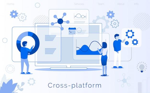 Pagina di atterraggio per la creazione di uno sviluppo multipiattaforma Vettore Premium