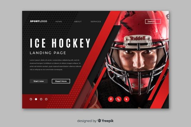 Pagina di atterraggio sport hockey su ghiaccio con foto Vettore gratuito