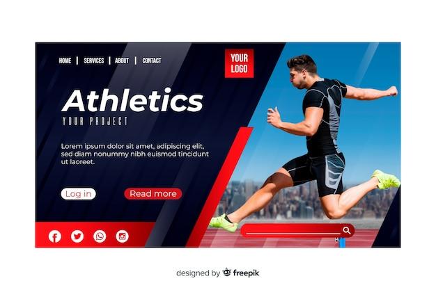 Pagina di atterraggio sportivo di atletica leggera con foto Vettore gratuito