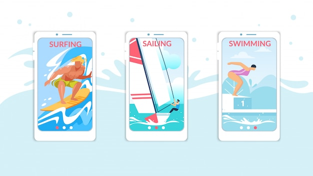 Pagina di bordo di navigazione, vela, nuoto mobile app set per sito web Vettore Premium