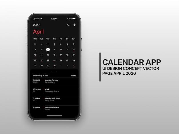 Pagina di concetto dell'interfaccia utente dell'interfaccia utente dell'app calendario scuro modalità aprile Vettore Premium