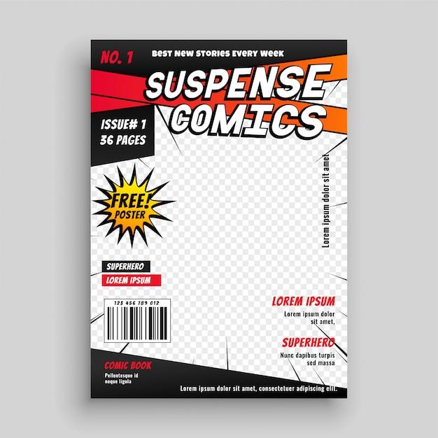 Pagina di copertina della pubblicazione di fumetti Vettore gratuito