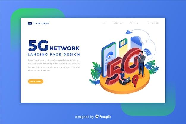 Pagina di destinazione 5g in design isometrico Vettore gratuito