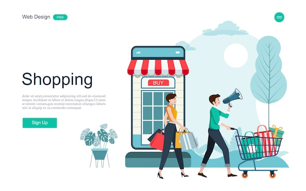 Pagina di destinazione acquisti e servizi online Vettore Premium