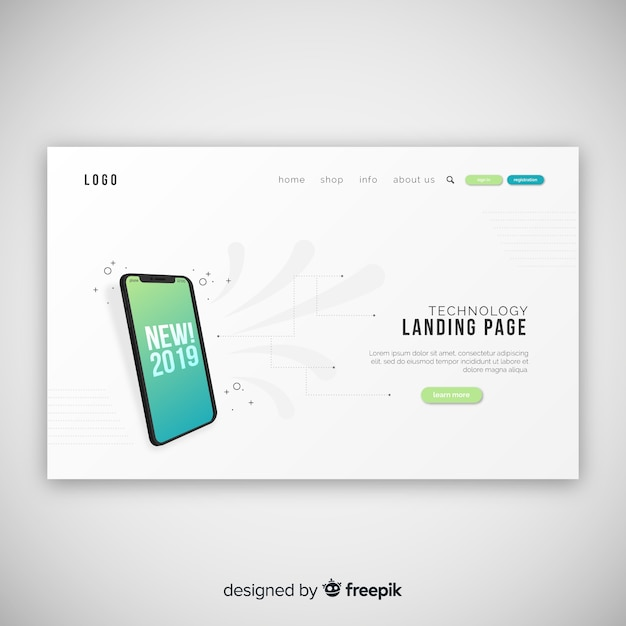 Pagina di destinazione astratta con dispositivi tecnologici Vettore gratuito