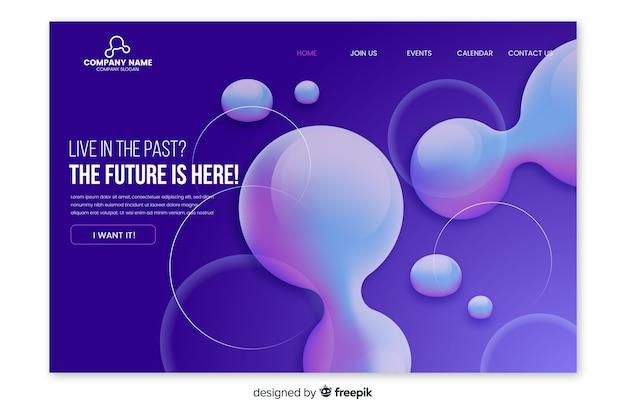 Pagina di destinazione astratta effetto liquido Vettore gratuito