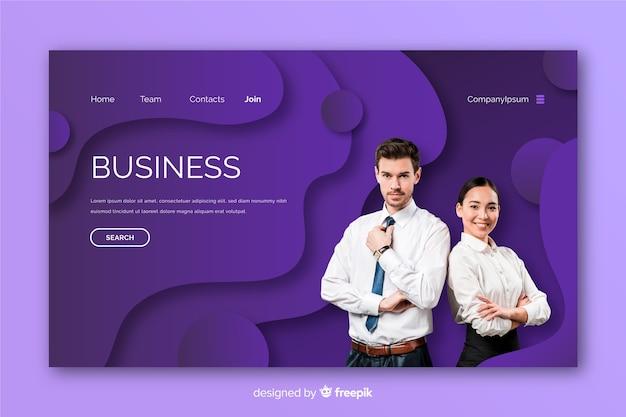 Pagina di destinazione aziendale con modello di foto Vettore gratuito