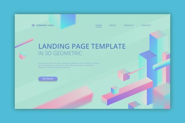 Pagina di destinazione aziendale in 3d geometrico Vettore gratuito