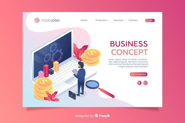 Pagina di destinazione aziendale isometrica con icone Vettore gratuito