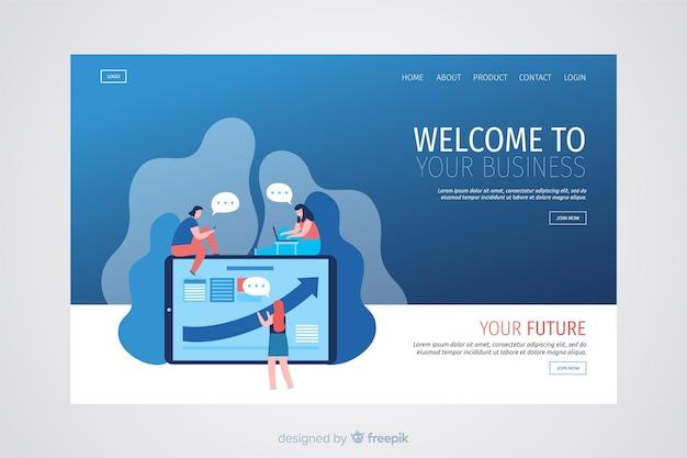 Pagina di destinazione aziendale moderna Vettore gratuito
