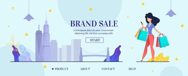 Pagina di destinazione banner pubblicità vendita di marchi online Vettore Premium