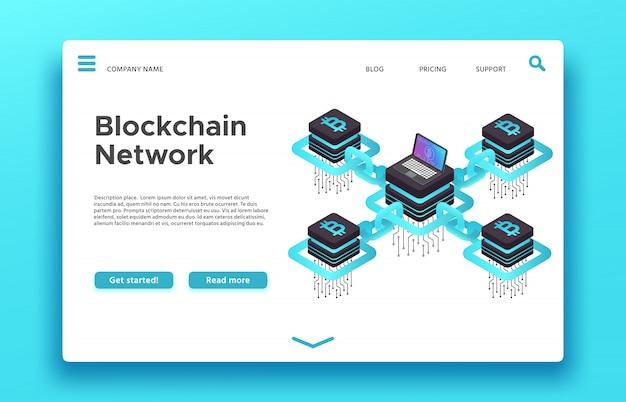 Pagina di destinazione blockchain. web di mining di criptovaluta isometrica Vettore Premium