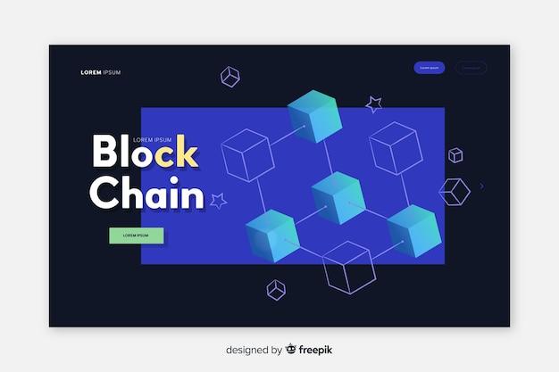 Pagina di destinazione blockchain Vettore gratuito