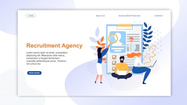 Pagina di destinazione che presenta un'agenzia di reclutamento online Vettore Premium