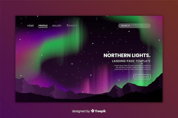 Pagina di destinazione con aurora boreale Vettore gratuito
