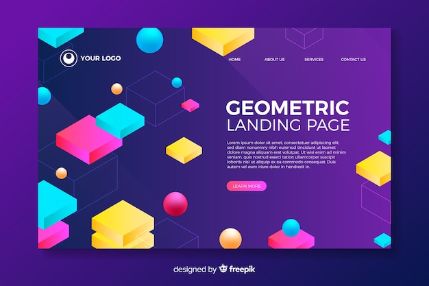 Pagina di destinazione con forme geometriche 3d Vettore gratuito