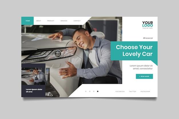 Pagina di destinazione con foto di uomo che abbraccia un'auto Vettore gratuito