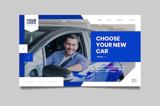 Pagina di destinazione con foto di uomo di smiley in auto Vettore gratuito
