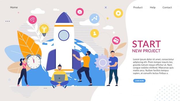 Pagina di destinazione con idea di avvio dell'attività Vettore Premium