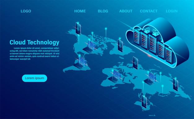 Pagina di destinazione con il concetto di cloud computing. tecnologia informatica online. concetto di elaborazione del grande flusso di dati, server 3d e centro dati. design piatto isometrico Vettore Premium