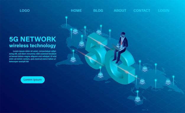Pagina di destinazione con il concetto di tecnologia wireless di rete 5g. concetto di tecnologia e telecomunicazione. illustrazione vettoriale isometrica design piatto Vettore Premium