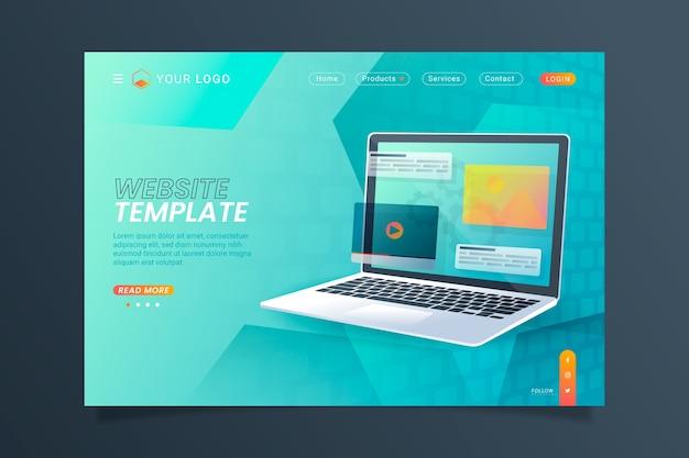 Pagina di destinazione con laptop Vettore gratuito