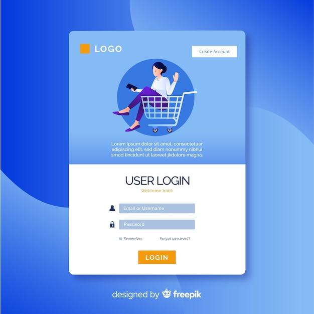 Pagina di destinazione con modulo di accesso allo shopping Vettore gratuito