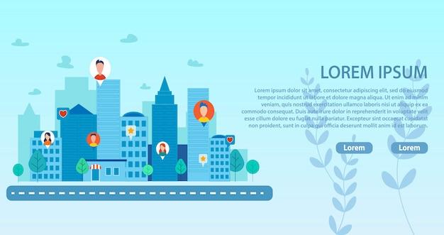 Pagina di destinazione con smart city e people community Vettore Premium