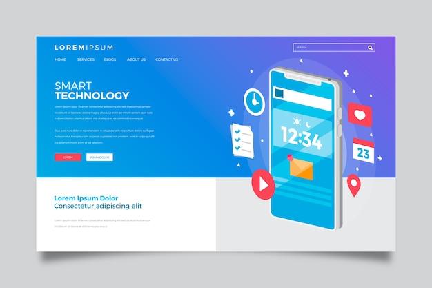 Pagina di destinazione con smartphone con gradiente Vettore gratuito