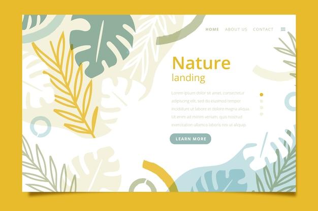 Pagina di destinazione con tema natura Vettore gratuito