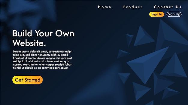 Pagina di destinazione con triangolo Vettore Premium