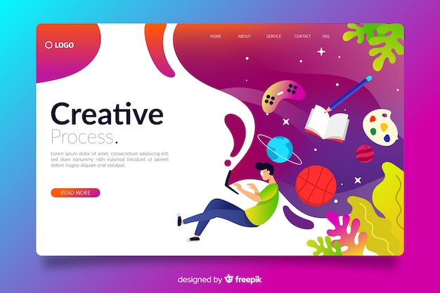 Pagina di destinazione creativa gradiente Vettore gratuito