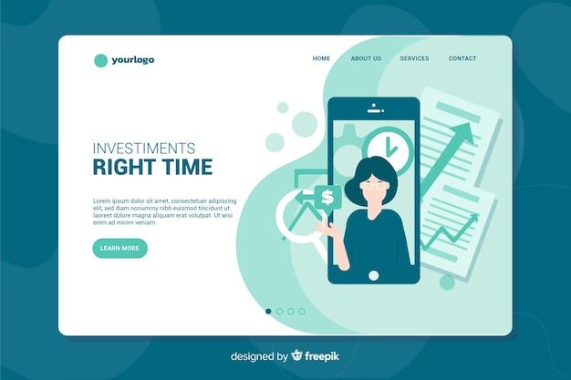 Pagina di destinazione degli investimenti Vettore gratuito