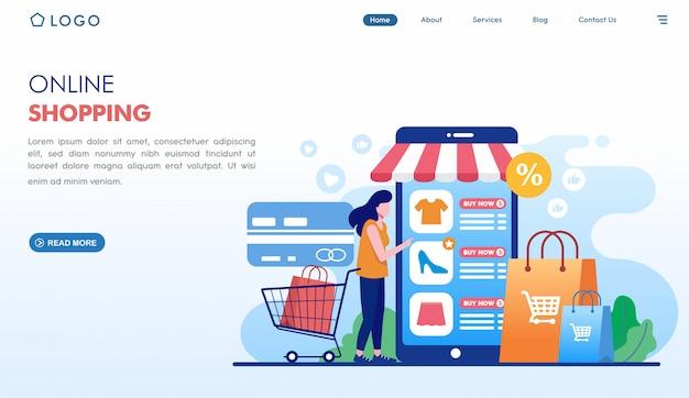 Pagina di destinazione degli ordini facili per lo shopping online in stile piatto Vettore Premium