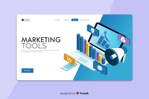 Pagina di destinazione degli strumenti di marketing Vettore gratuito