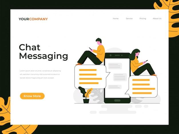 Pagina di destinazione dei messaggi di chat Vettore Premium