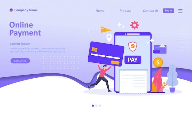 Pagina di destinazione dei pagamenti online Vettore Premium