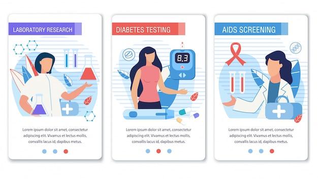 Pagina di destinazione dei social media impostata per il controllo del diabete Vettore Premium