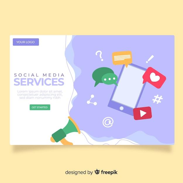 Pagina di destinazione dei social media Vettore gratuito