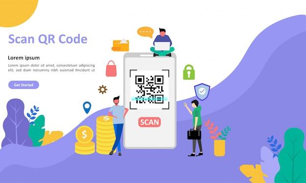 Pagina di destinazione del codice qr Vettore Premium