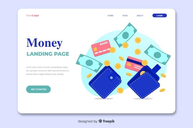 Pagina di destinazione del concetto di denaro Vettore gratuito
