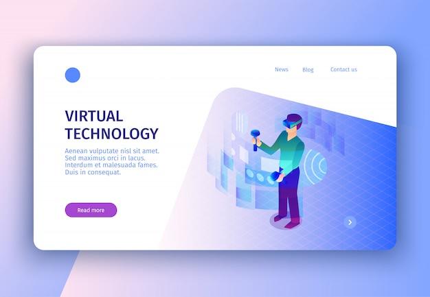 Pagina di destinazione del concetto di realtà virtuale isometrica con collegamenti cliccabili di immagini leggi altro pulsante Vettore gratuito