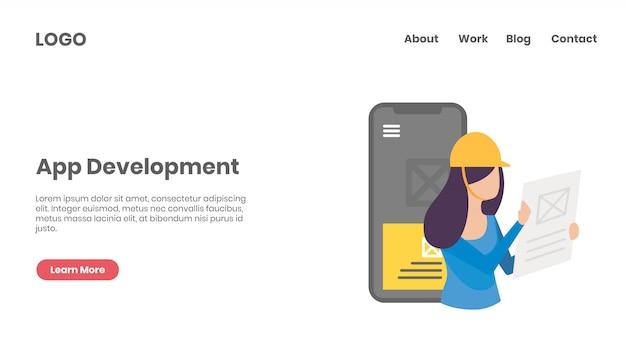Pagina di destinazione del concetto di sviluppo app Vettore Premium