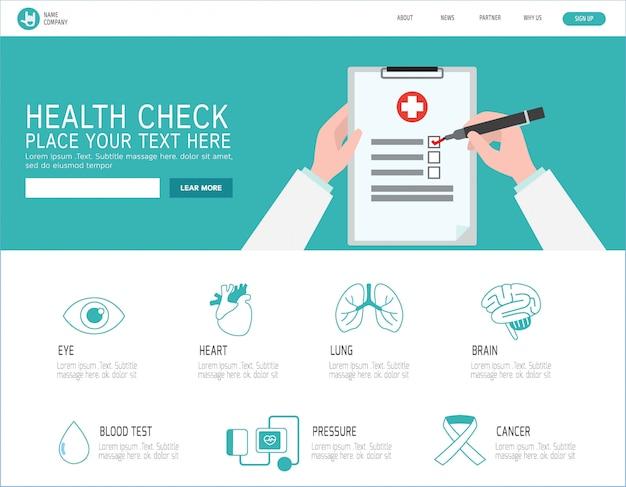 Pagina di destinazione del controllo sanitario Vettore Premium